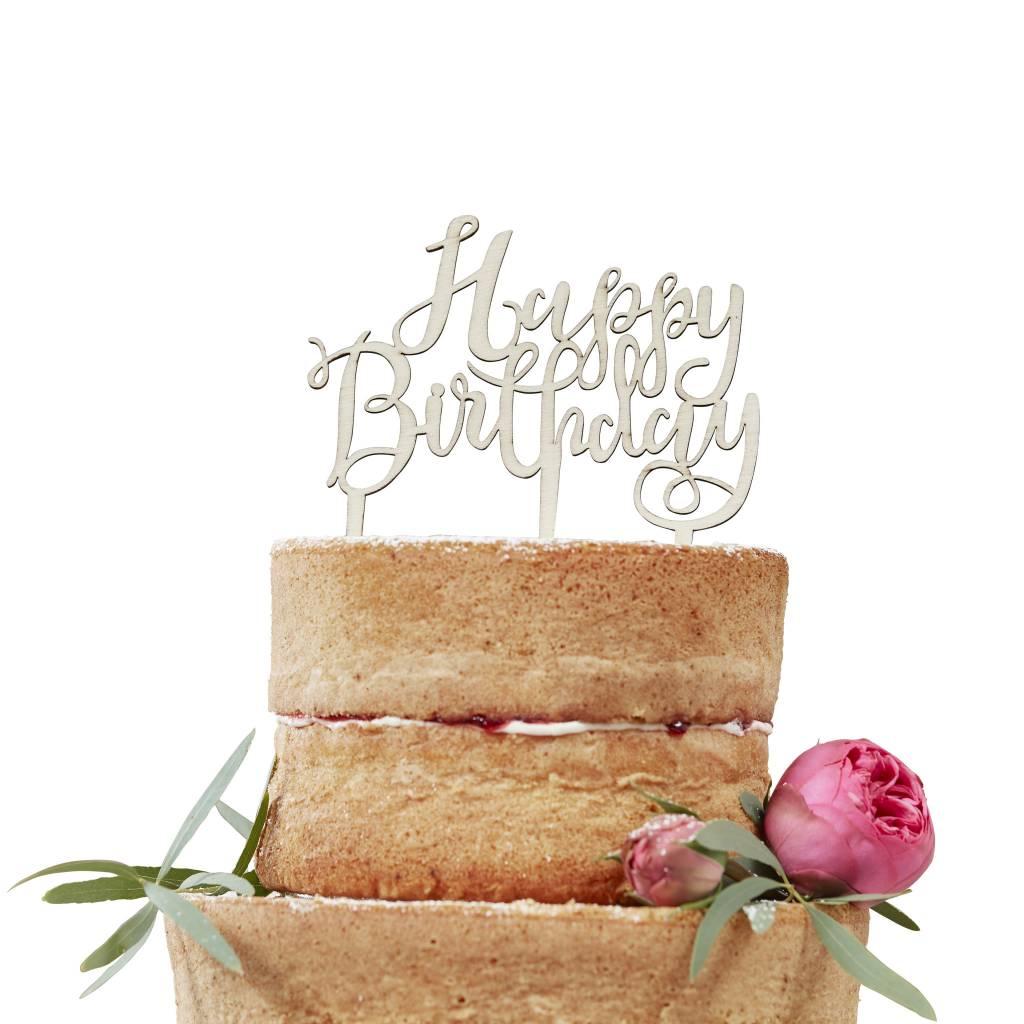 GINGERRAY Wooden Cake Topper - Happy Birthday