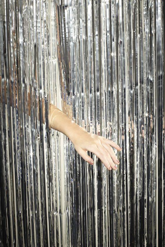 FT Glitter curtain foil silver 2x1m