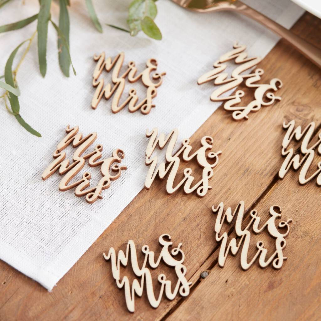 GINGERRAY confetti wooden mr and mrs