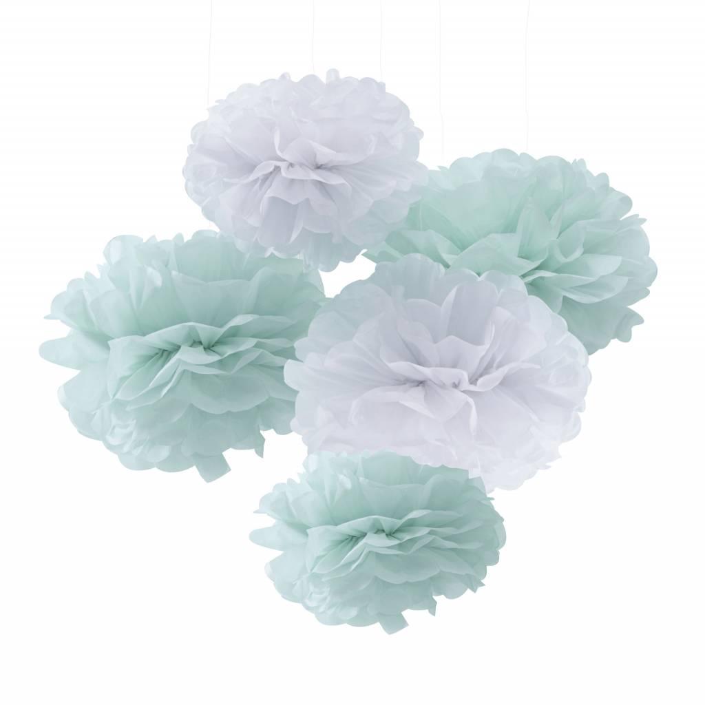 GINGERRAY pom poms mint and white