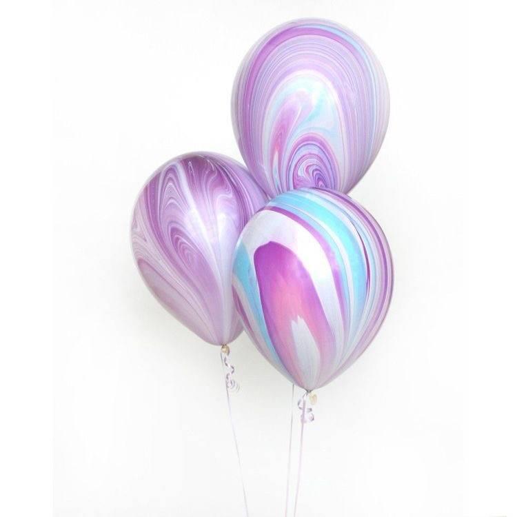 ABC 5 marble balloons purple & aqua