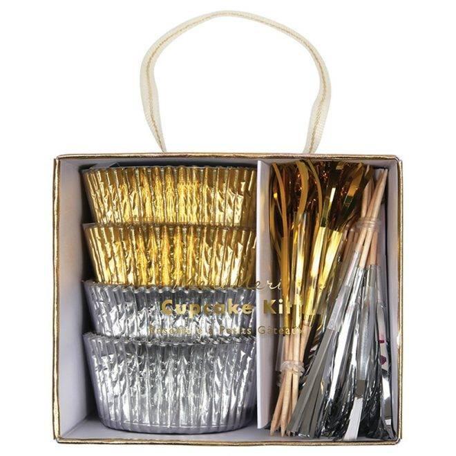 MERIMERI gold and silver cupcake kit