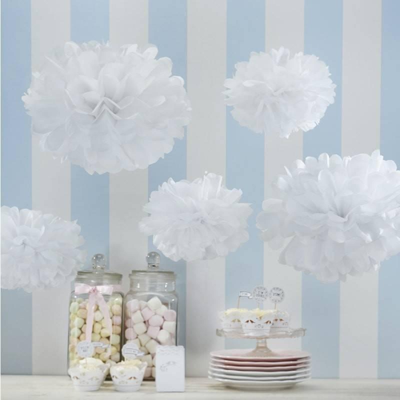 GINGERRAY tissue paper pom poms white