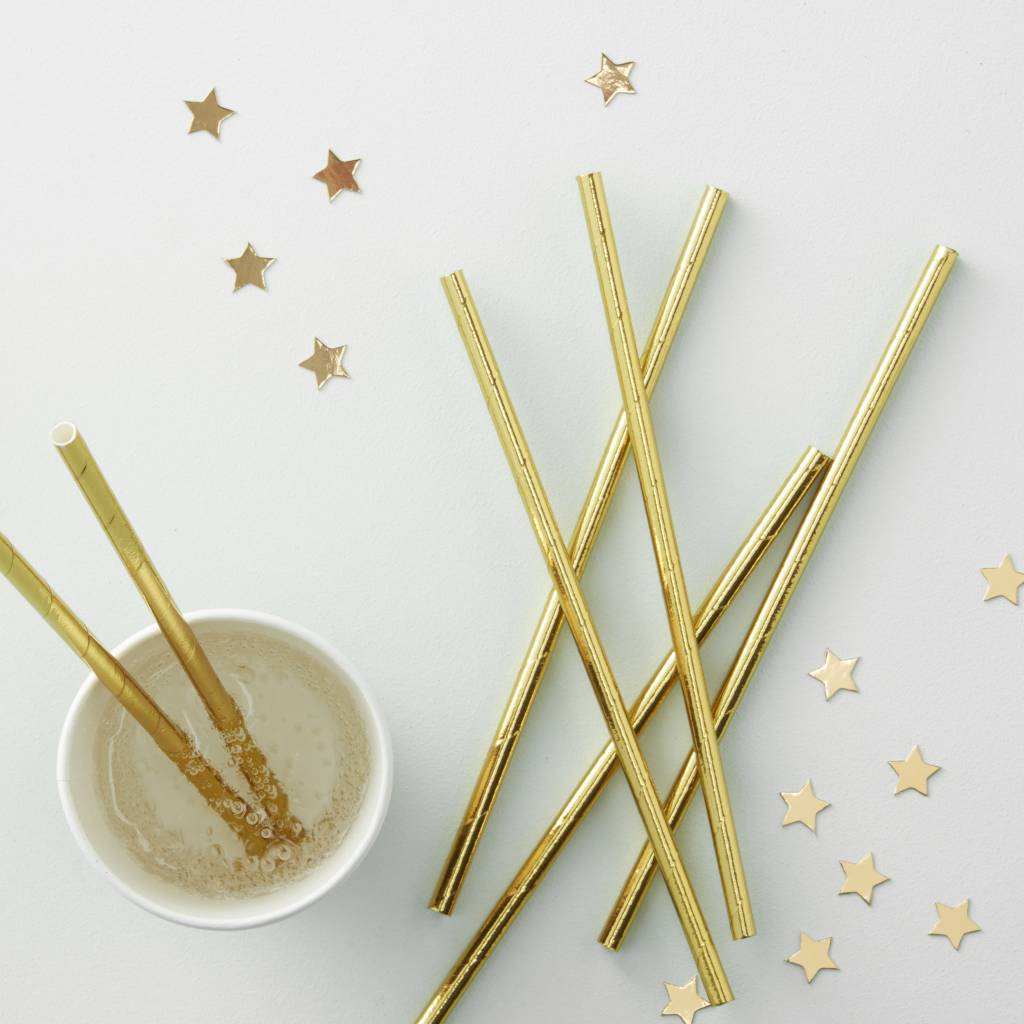 GINGERRAY Gold Foiled Paper Straws