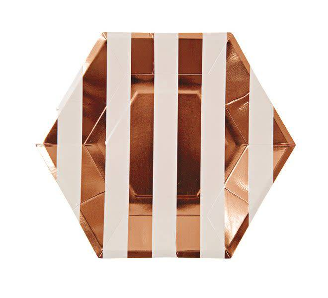 MERIMERI Rose gold stripe plates S
