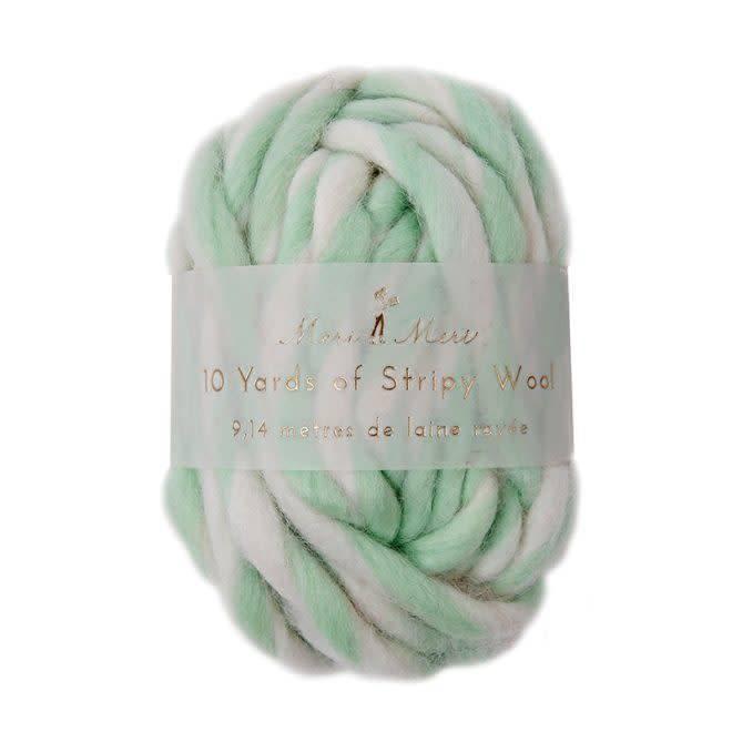 MERIMERI Stripy ball of wool – mint/white
