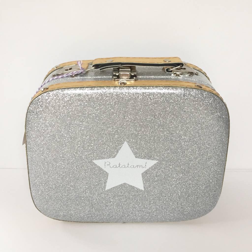 RATATAM suitcase  silver glitter M