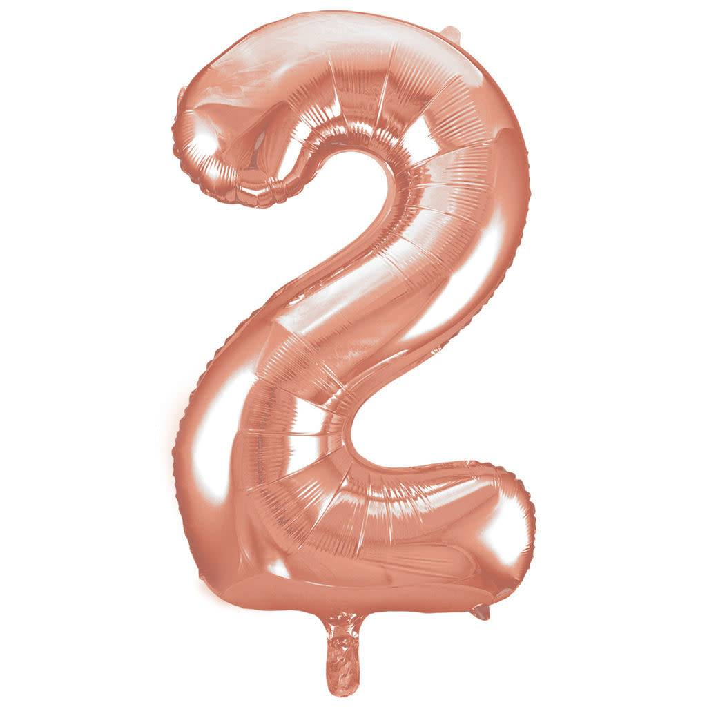 FT foil numberballoon large rose gold 2