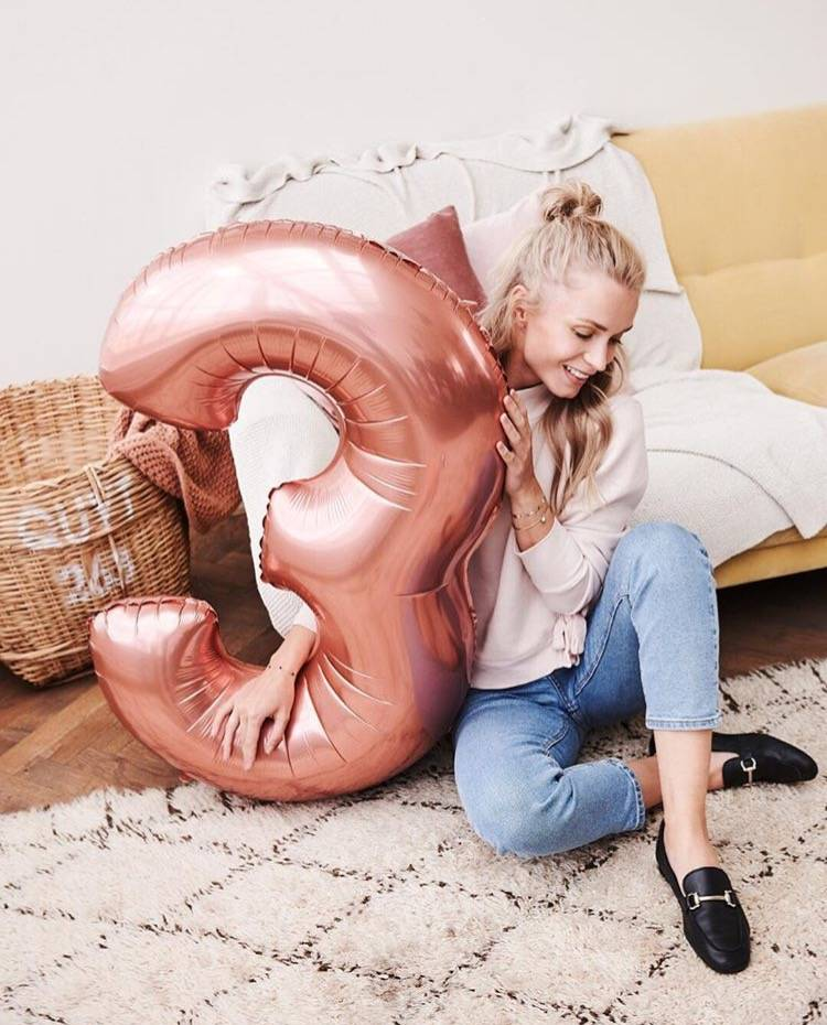FT foil numberballoon large rose gold 6