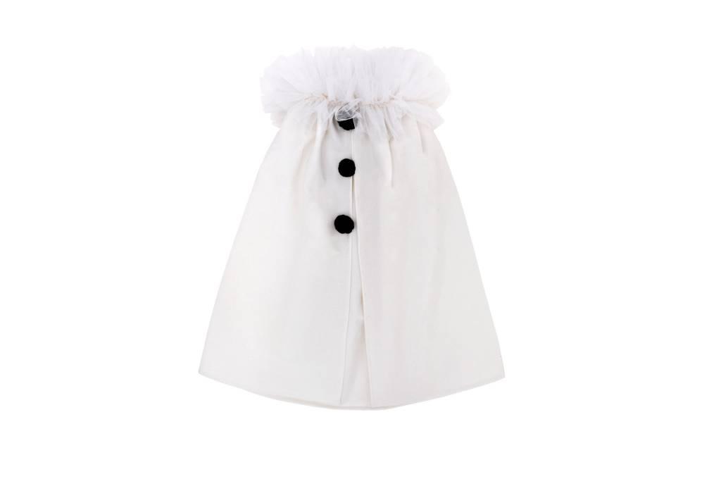 MOUCHE white cape with black pompons
