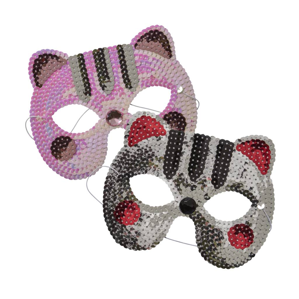RICE Kids Sequined Cat Mask silver