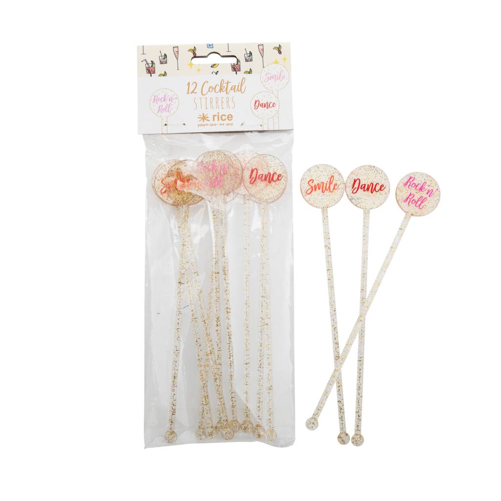 RICE 12 Cocktail Stirrers in Gold Glitter with Words
