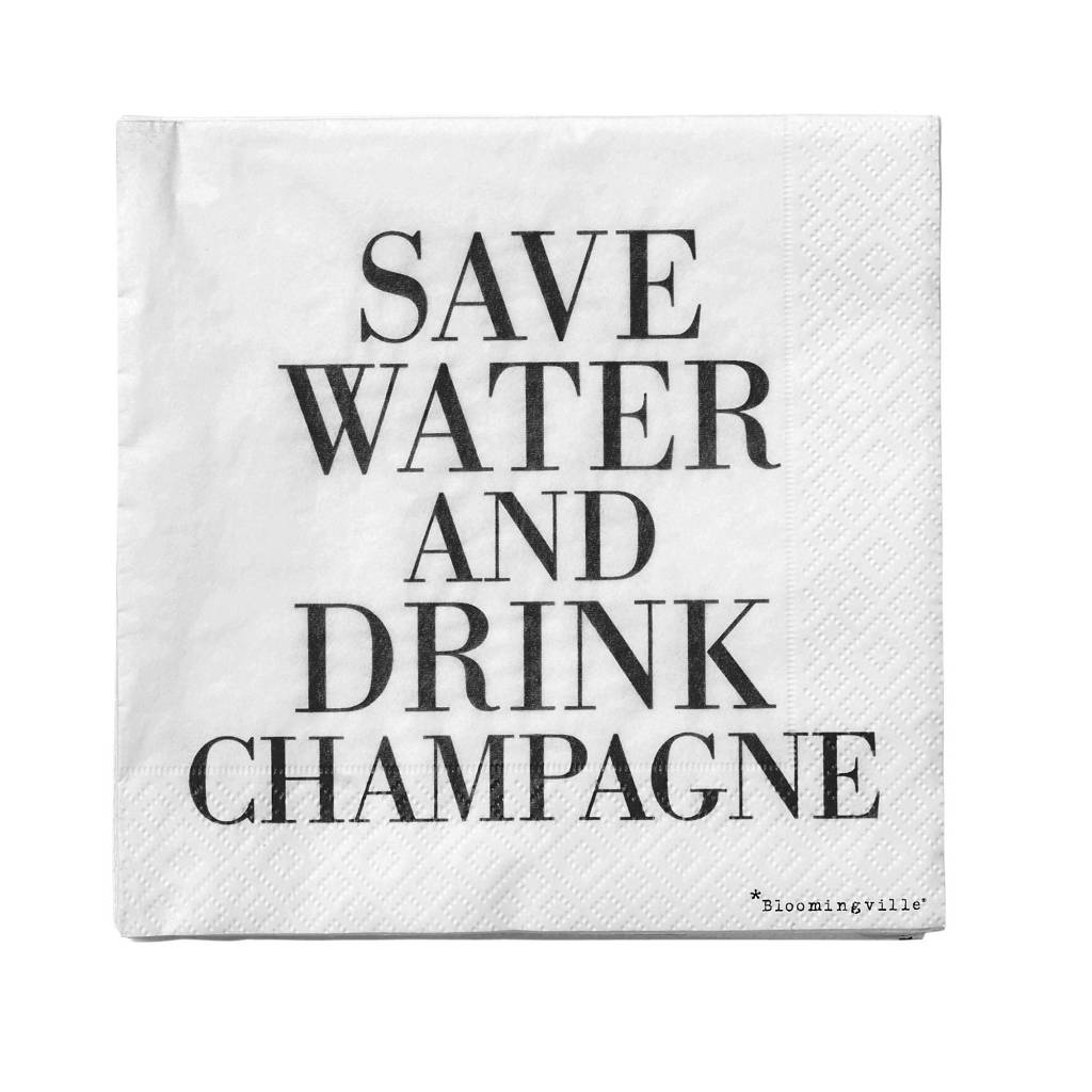 BLOOMINGVILLE napkins save water drink champagne