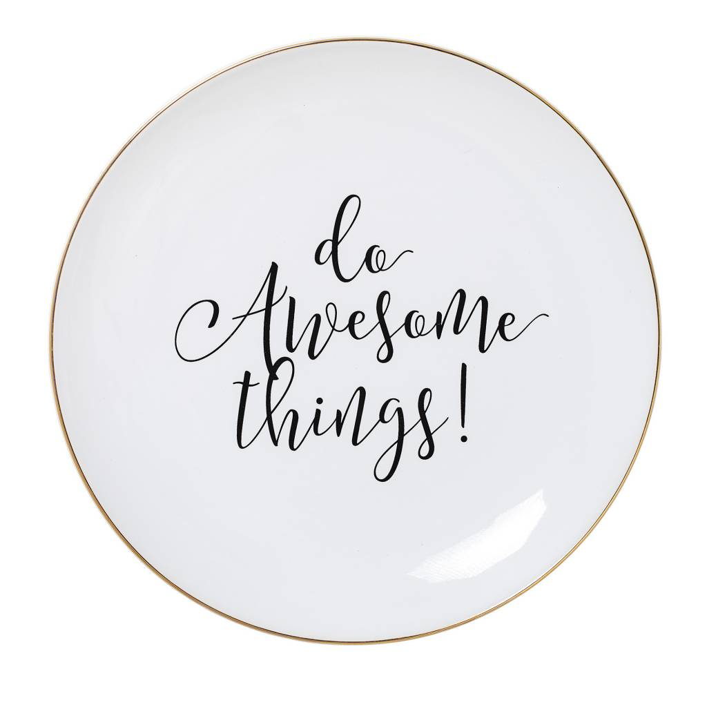 BLOOMINGVILLE do awesome things plate white stoneware