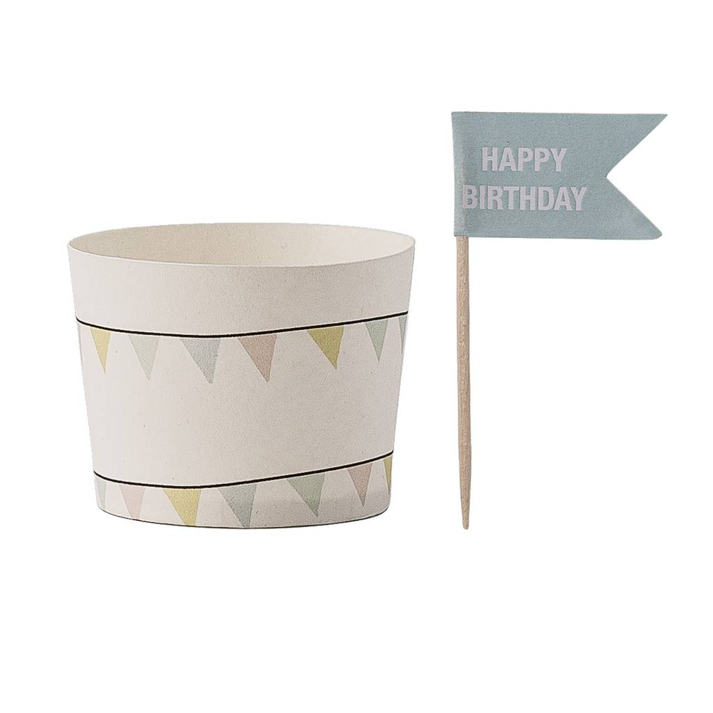 BLOOMINGVILLE paper cup pastel garland with flag 8x