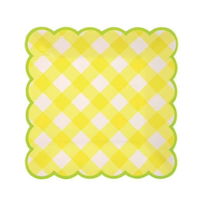 MERIMERI Yellow gingham plates small