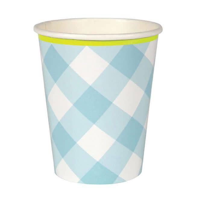 MERIMERI Blue gingham cups