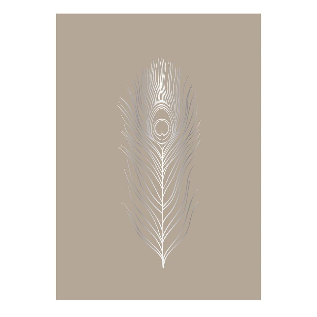 BLOOMINGVILLE silver foil feather poster dusty nude
