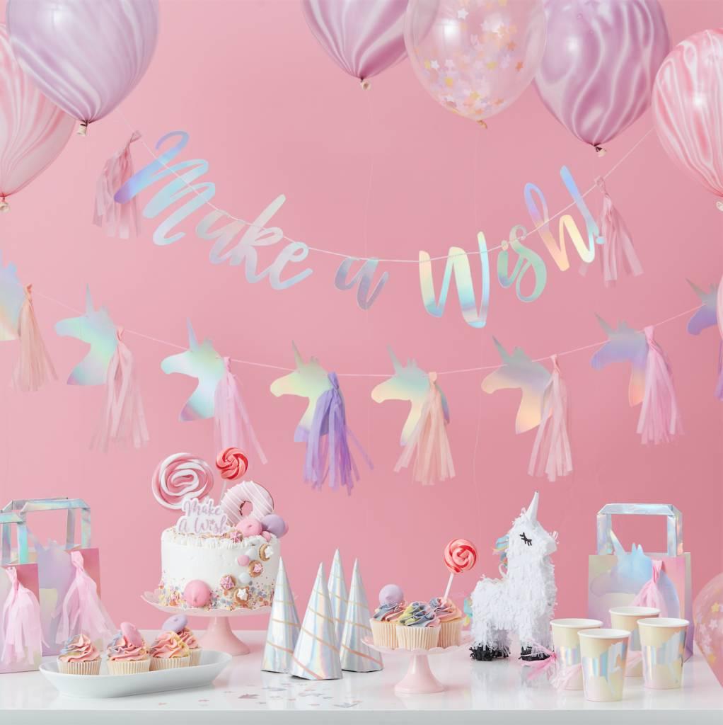 GINGERRAY holographic unicorn shaped paper plates- make a wish