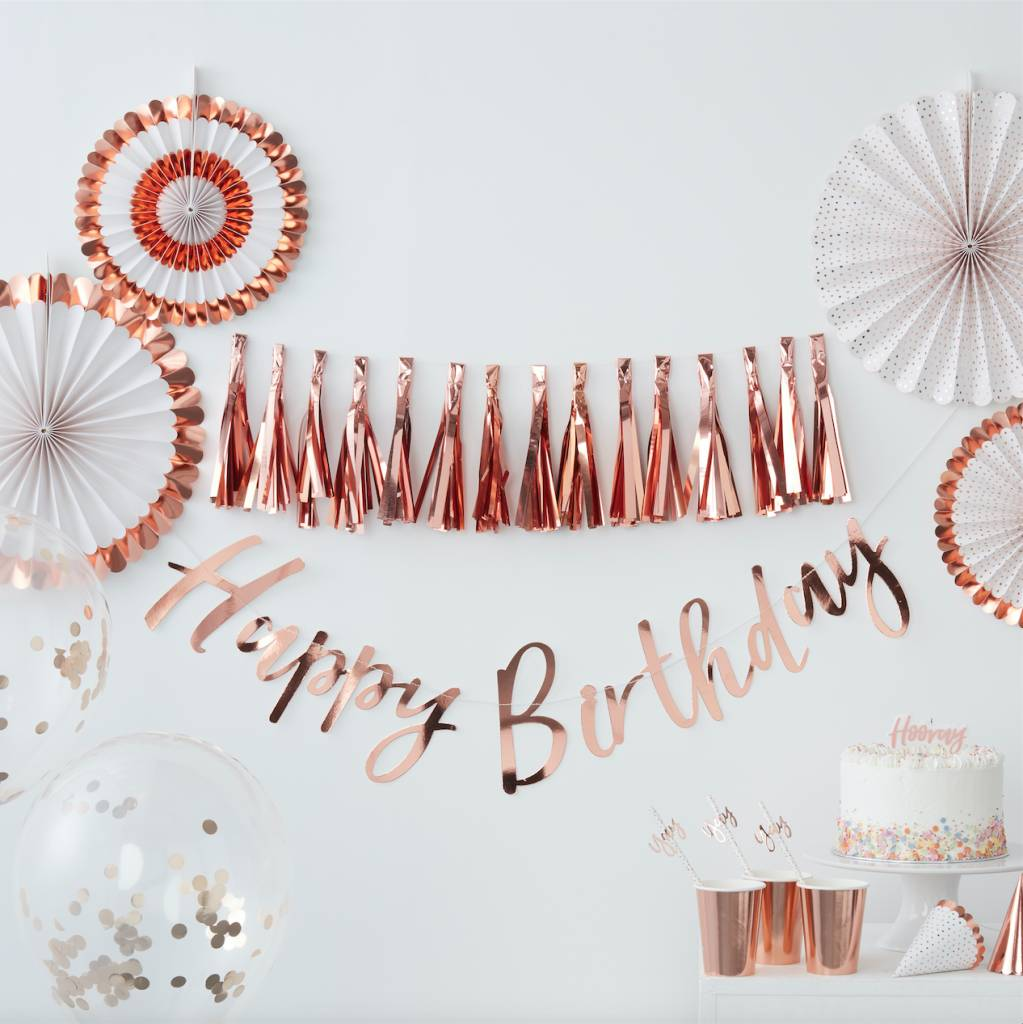 GINGERRAY pink and rose gold happy birthday sash - pick and mix