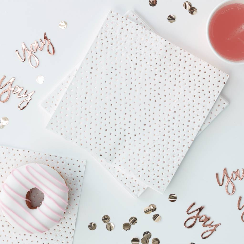 GINGERRAY rose gold spotty foiled napkins - pick & mix