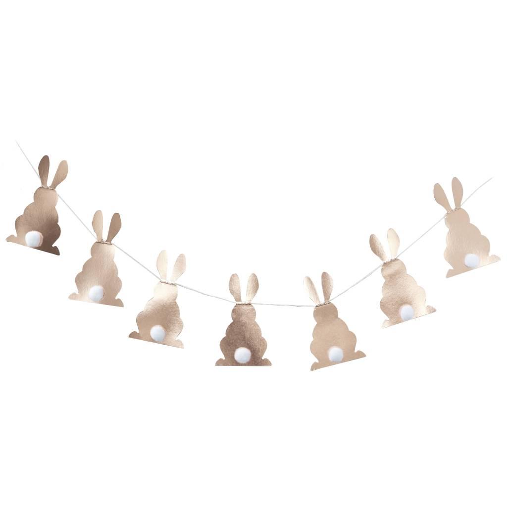 GINGERRAY rose gold pom pom tail bunny bunting - hoppy easter