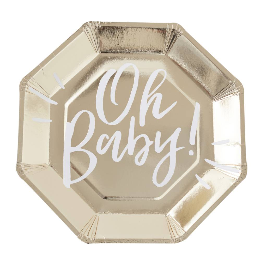 GINGERRAY gold foiled oh baby! paper plates - oh baby!