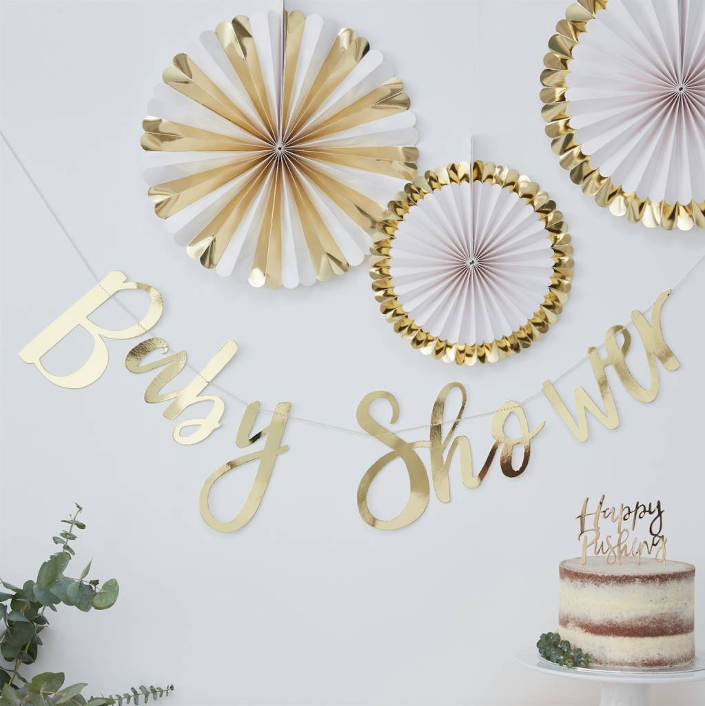 GINGERRAY gold foiled baby shower bunting - oh baby!
