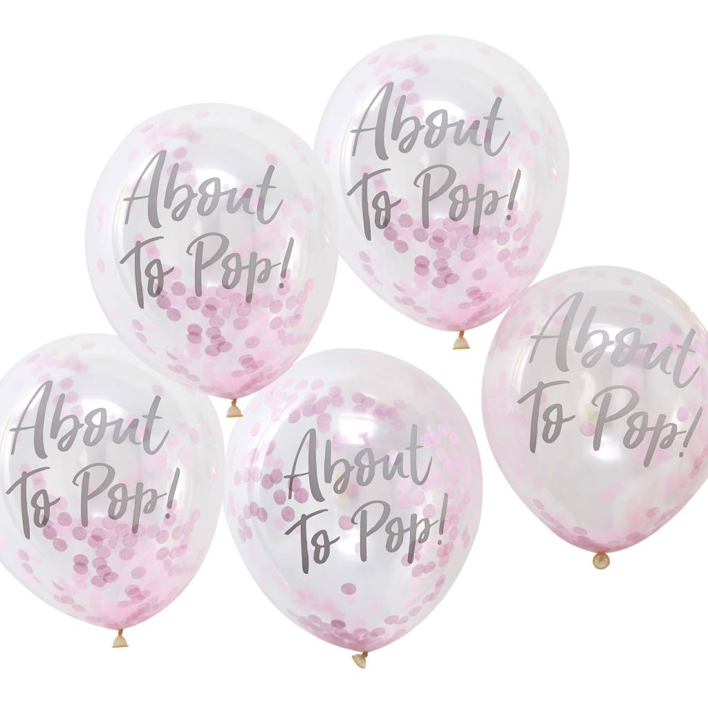 GINGERRAY about to pop! printed pink confetti balloons - oh baby