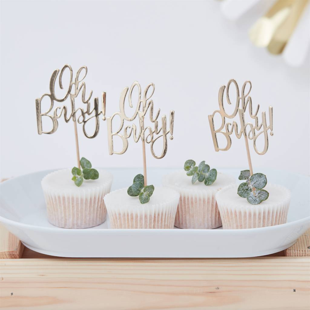 GINGERRAY gold foiled oh baby! cupcake toppers - oh baby!