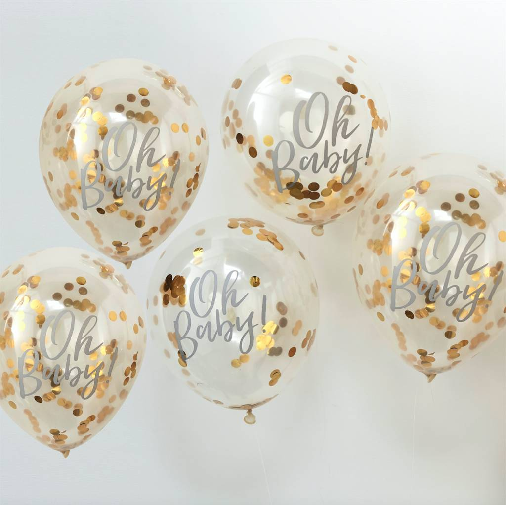 GINGERRAY oh baby! printed gold confetti balloons - oh baby!