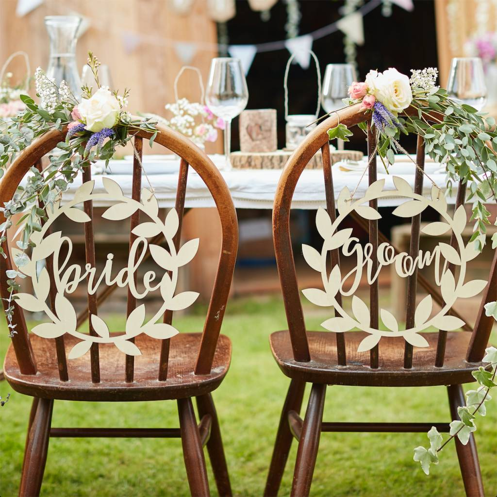 GINGERRAY wooden bride and groom chair signs - rustic country