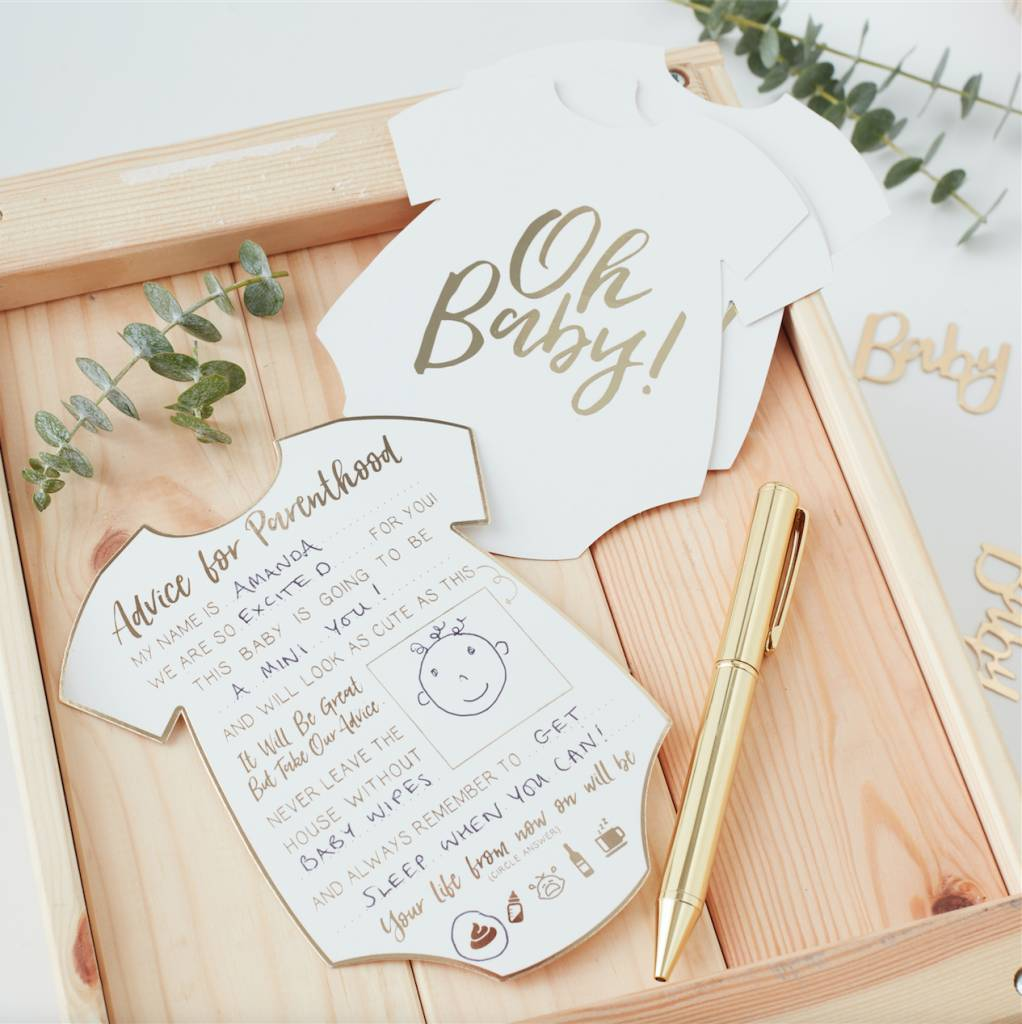 GINGERRAY gold foiled advice for the parents cards - oh baby!