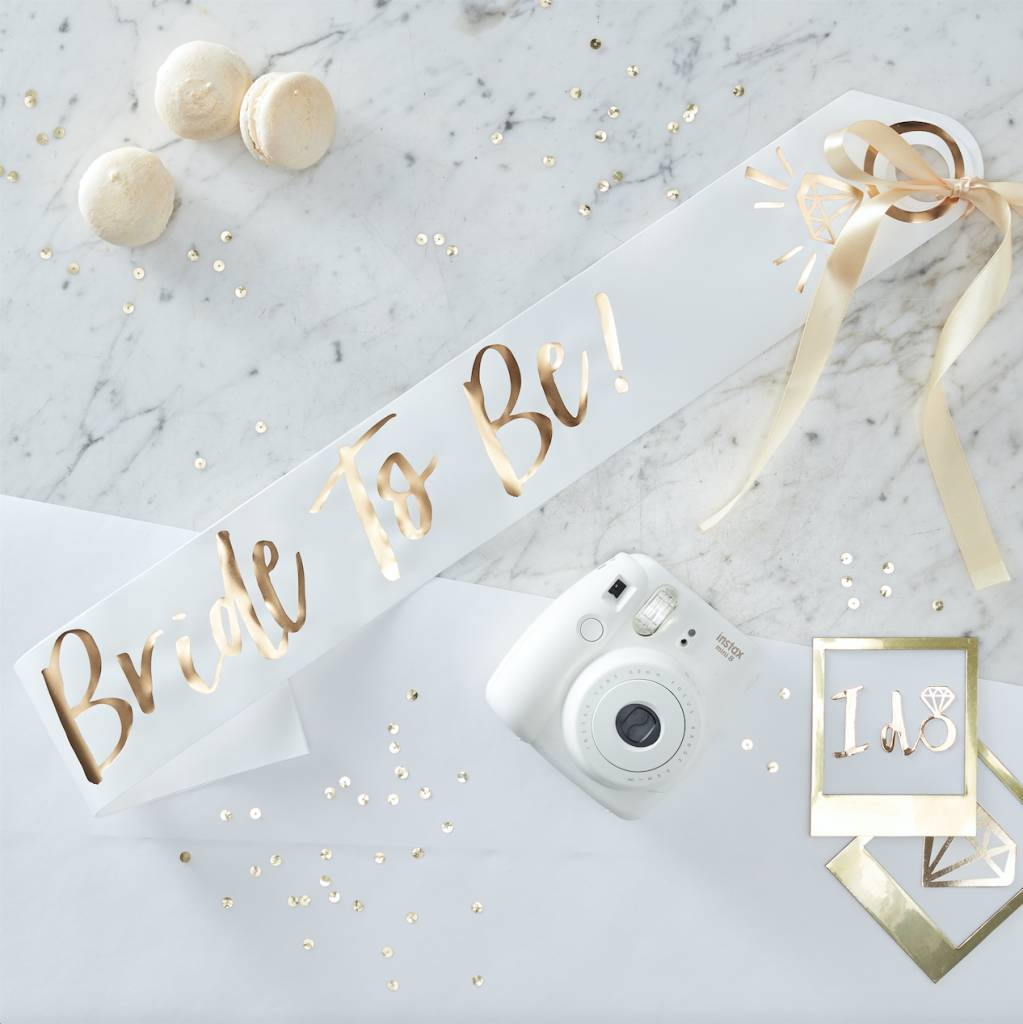 GINGERRAY white and gold foiled bride to be sash - i do crew