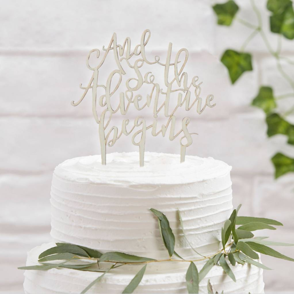 GINGERRAY and so the adventure begins wooden cake topper - beautiful botanics
