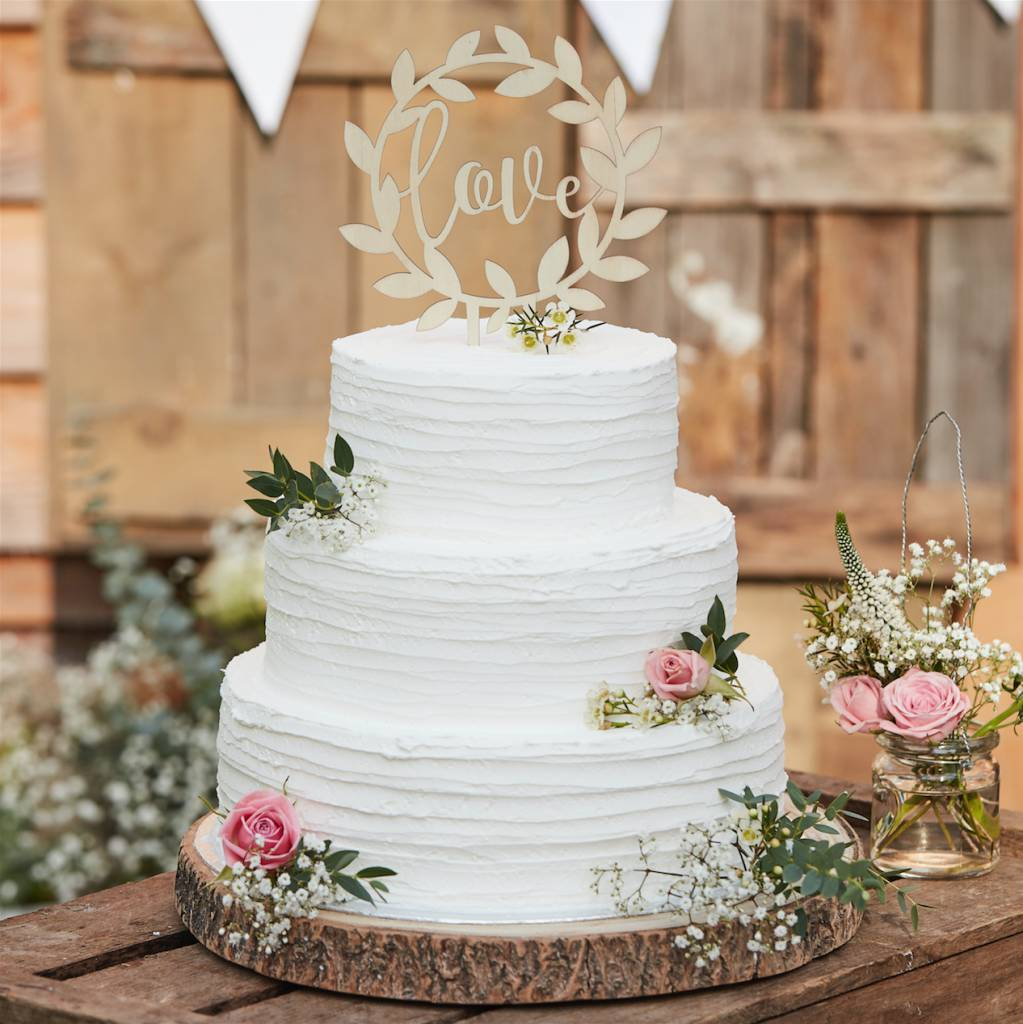 GINGERRAY wooden love cake topper - rustic country