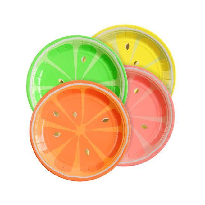 MERIMERI Neon citrus plates
