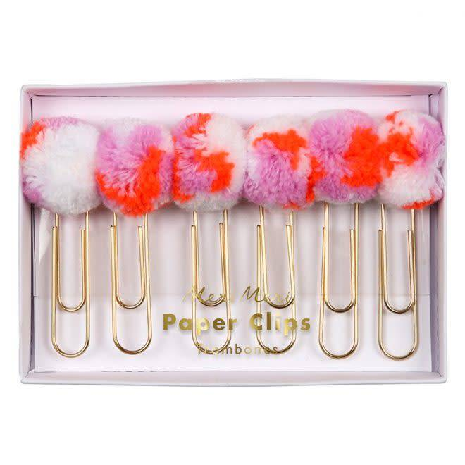 MERIMERI Pink pom pom paper clips