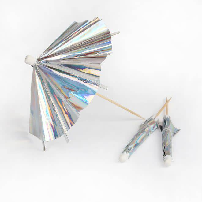 MERIMERI Holographic silver cocktail umbrellas
