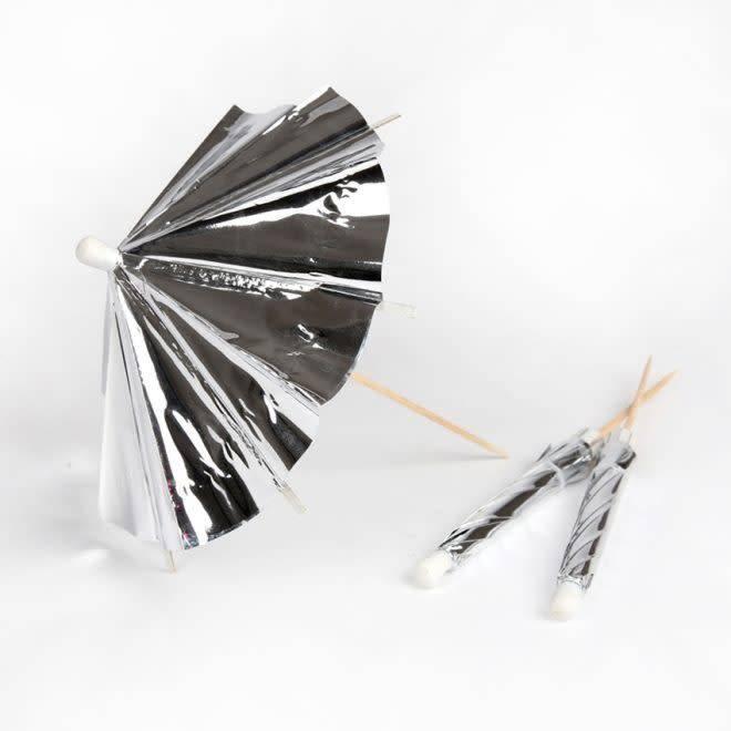 MERIMERI Silver cocktail umbrellas