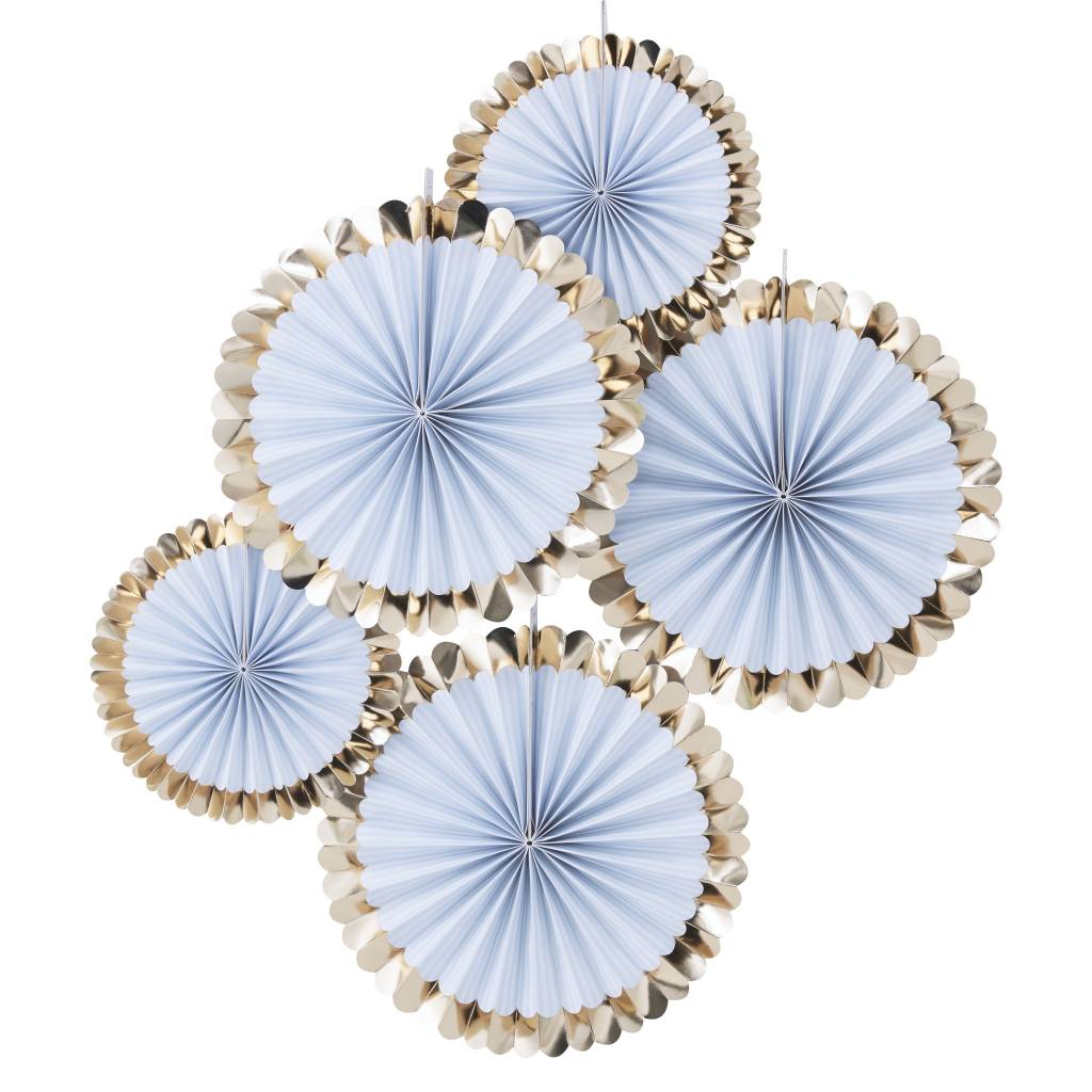 GINGERRAY GOLD FOILED BLUE FAN DECORATIONS - PICK & MIX