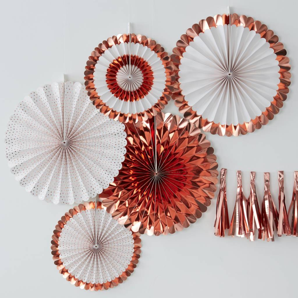 GINGERRAY ROSE GOLD FAN DECORATIONS - PICK & MIX