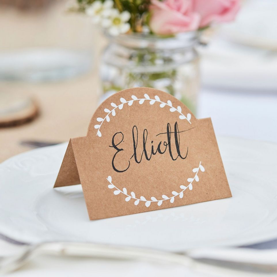 GINGERRAY KRAFT AND WHITE VINE PLACE CARDS - RUSTIC COUNTRY