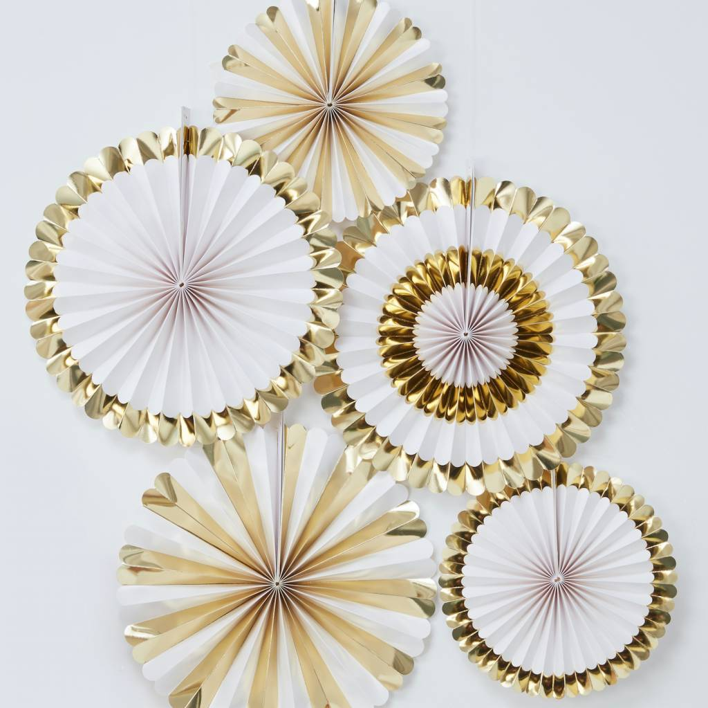 GINGERRAY GOLD FOILED FAN DECORATIONS - OH BABY!