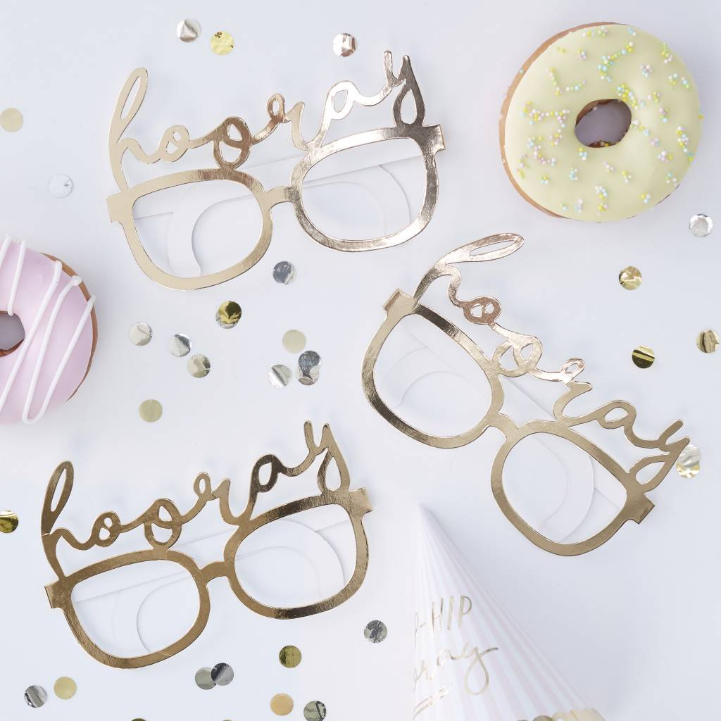 GINGERRAY GOLD FOILED HOORAY FUN GLASSES - PICK & MIX