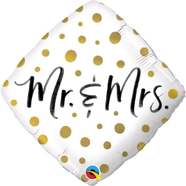 SMP Mr. & Mrs. foil balloon golden dots 45 cm