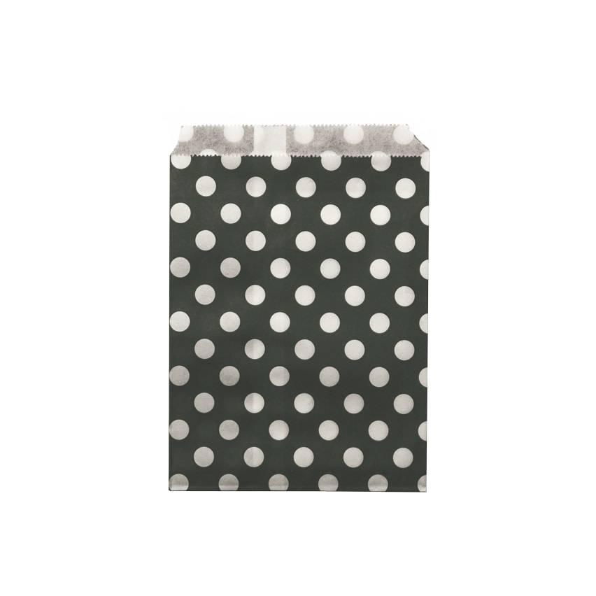 AF paper bags black white dots 24 pieces, 18 x 13 cm