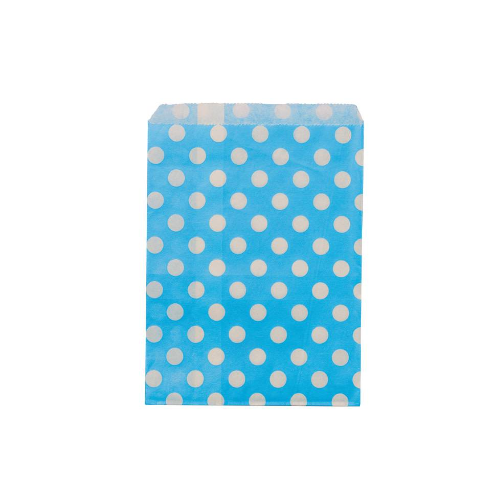 AF paper bags turquoise white dots 24 pieces, 18 x 13 cm