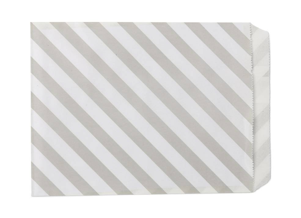 AF paper bags grey white striped 24 pieces, 18 x 13 cm