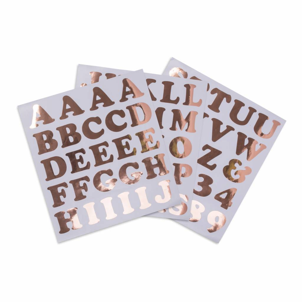 AF 71 alphabet & number stickers rose gold 6 cm each